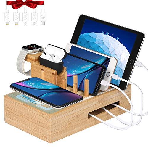 Bamboo Charging Station for Multiple Devices - Darfoo Docking Station Organizer, 1 Qi-Certified Fast Wireless Charger, and 7 USB Charging Ports Compatible with iPhone 11, AirPod Pro, iWatch 5, Tablet