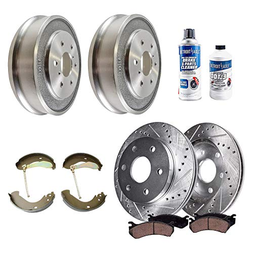 Detroit Axle - Front Drilled Brake Rotors Ceramic Pads + Rear Drums Brake Shoes + Brake Cleaner Fluid Replacement for Chevy GMC Silverado Sierra 1500 [w/Rear Drum ONLY] - 10pc Set
