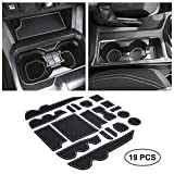 JKCOVER Premium Custom Liner Mat Accessories Compatible with Tacoma 2016 2017 2018 2019 2020 2021, Cup Holder, Door Pocket and Center Console Inserts 19 Pcs (Double Cab, Gray Trim)