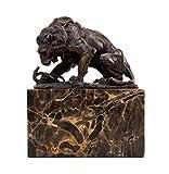 Kunst & Ambiente–Escultura de bronce–León con Serpiente (1838)–Firmada de Antoine Louis Barye–León Escultura–Animales figuras Online comprar
