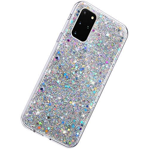 Herbests - Carcasa de silicona para Samsung Galaxy S20 Plus, ultrafina, suave y transparente, color plateado