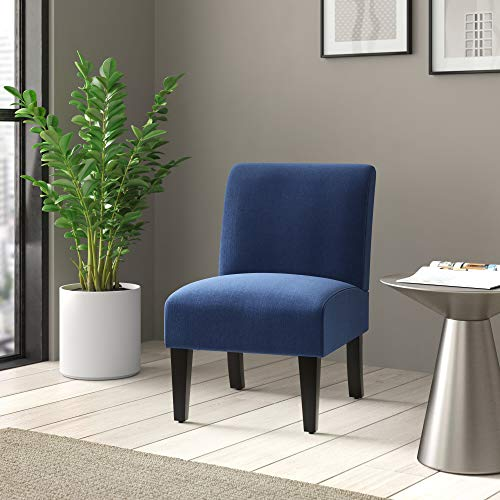 BELLEZE Armless Contemporary Upholstered Single Curved Slipper Accent Chair Living Room Bedroom, Blue