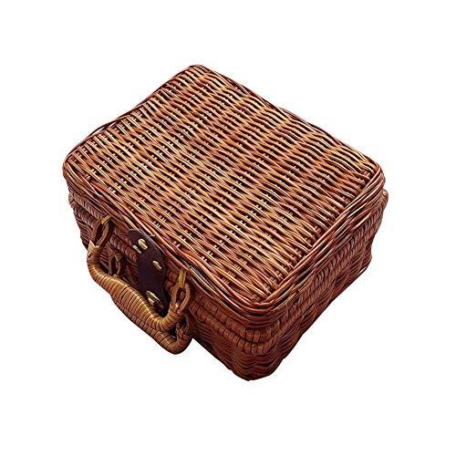 DBWIN Handgefertigter Picknickkorb mit Griff, Retro Rattan Koffer Picknick Aufbewahrungsbox, rechteckiger Korb, 21 x 17 x 11 cm