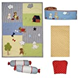 abracadabra Complete 6 piece Cot Bedding Set for Newborns, infants, Baby Boy/Girl/Unisex includes a Quilt, Flat Sheet, Bumper, Two Bolsters, and Neck Pillow, Made in 100% Cotton, Super Soft and luxurious (Playful Puppies) - Green