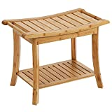 SONGMICS Bamboo Shower Bench Seat, Portable Spa...