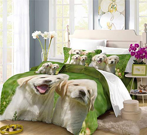 Preisvergleich Produktbild REALIN Bettbezüge Set Hund Labrador Bettwäschedie Süß Hund Menschlicher Freund Bett Sets 2 / 3 / 4Teilig Bettbezüge / Kissenbezüge / Bettlaken Für Kinder, Jungen, Mädchen (C, Super King-220×260cm-4PCS)