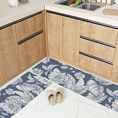 Tappetino per cucina con stampa di piante, tappetino per porta d'ingresso della camera da letto del soggiorno di casa moderna, tappeto assorbente antiscivolo per bagno A9 40x120 cm