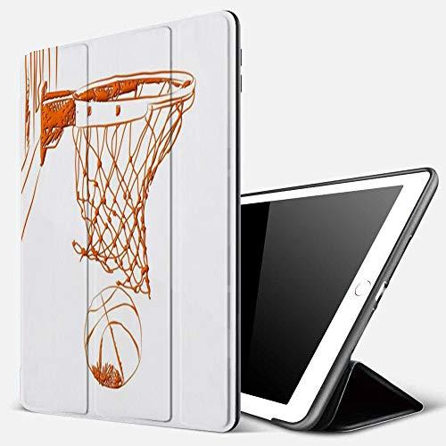 Carcasa con Magnetic Auto-Sueño,Resumen Puntuación Puntos ganadores Baloncesto individual Recreación deportiva en 3D Naranja,Ligéra Protectora Suave Silicona TPU Smart Cover Case para iPad 5./6.