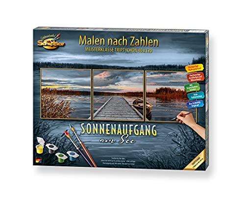 Schipper 609470754 Malen nach Zahlen, Sonnenaufgang am See - Bilder malen für Erwachsene, inklusive Pinsel und Acrylfarben, 120 x 40 cm