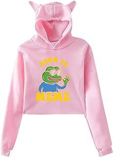Women's Cat Ear Pepe The Frog Born to Meme Hoodie Sweatshirt