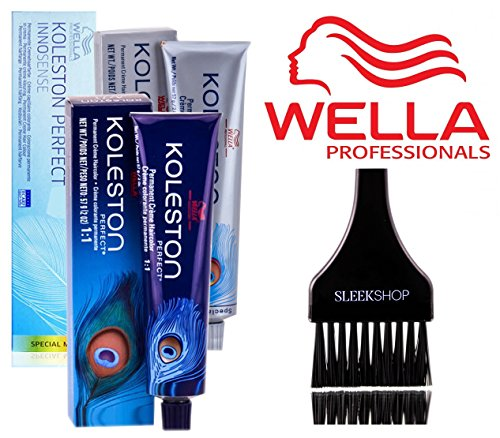 Wella KOLESTON Perfect Permanent Creme Haircolor, 2 oz (with Sleek Tint Brush) (12/81 Special Blonde/Pearl Ash)