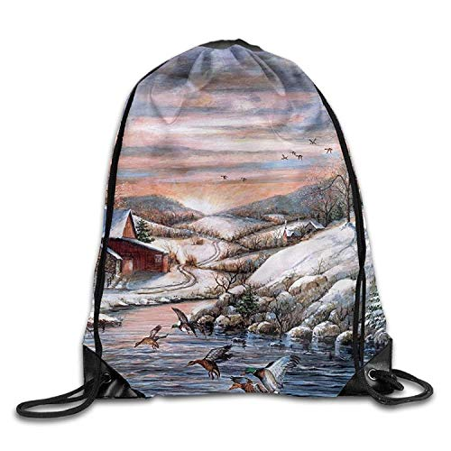 KIMIOE Turnbeutel Gym Large Drawstring Bucket Bag s Trees Rivers Cottages Draw Rope Shopping Travel Backpack Tote Student Camping