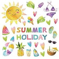 夏☆シール式ウォールステッカー summer 夏休み 祭り ひまわり 海 太陽 飾り 60×60cm カラフル 夏 かわいい 017328