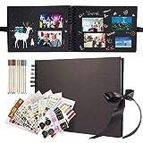 Yosemy Álbum de fotos para personalizar, 80 páginas negras, 10 bolígrafos metálicos, 12 pegatinas de fotos, 2 planos, libro de fotos para bebés, niños, cumpleaños
