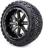 14' MODZ Assault Black Ball Mill Golf Cart Wheels and All Terrain Tires Combo Set of 4