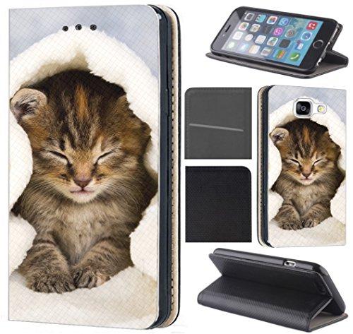 CoverHeld Xiaomi Redmi Mi Note 10 Pro Hülle - Handyhülle für Xiaomi Redmi Mi Note 10 Pro - Schutzhülle aus Kunstleder Design 1003 Katze Katzen Baby Braun Blau Weiß Klapphülle Beidseitig Cover