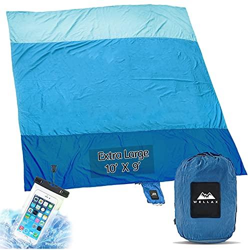 Wellax Beach Blanket Waterproof Sandproof for 4 - 7 Adults, Oversized Lightweight Corner Pockets Picnic Mat 9' x 10', Outdoor...