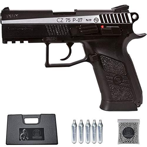 Ecommur. CZ 75 P-07 Duotone Blowback   Pistola de perdigones (Bolas BB's de Acero) de Aire comprimido semiautomática 4,5mm + maletín + balines y CO2