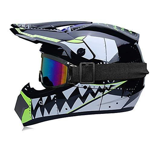 Motorrad-Helm für Kinder, Handschuhe Helm zertifiziert Dot Motocross Cross Off-Road BMX Cycle schwarz matt ATV Kinder Quad Bike MTB Go Karting Helm