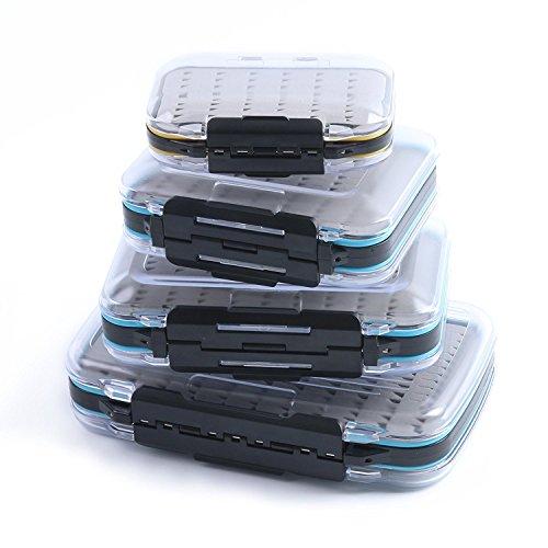 Maximumcatch Doppelseite Wasserdichte Fliegenbox Easy-Griff-Schaum Fliegendose (Schwarz, Größe B)