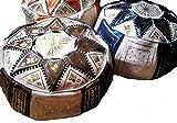 Puf de cuero marroquí, mide aprox 42cm x 20cm, color negro con crema