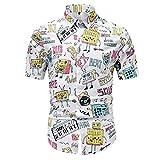 Camisas Formales de los Hombres, Vestido Impreso Camisa de algodón Casual de Manga Corta de Manga Corta, colocación de Moda,Blanco,L