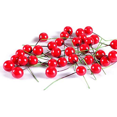 Kslogin 100 Stück Weihnachtsdekoration, künstlicher Schaumstoff, kleine Kegeln, künstliche Blumen, Obstbeeren, Basteln, Dekoration für Weihnachtsbaum
