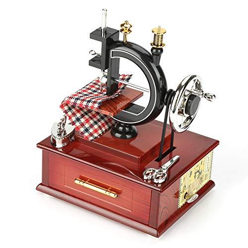 Akozon Wooden Music Box Vintage Style Kreative Retro Nähmaschine Uhrwerk Spieluhr Geschenk Heimtextilien Kreativ Klassisch Nähmaschinen Modell Spieluhr