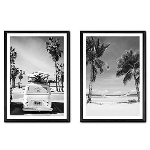 Flanacom Design Poster 2er Set A3 Schwarz Weiß - hochwertiger Kunstdruck auf Hochglanz Premiumpapier - Moderne Bilder Deko Wohnung - Motiv Surfer VW Bus/Strand Palmen (27 x 42 cm) (mit Rahmen)