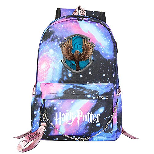 Zaino per il tempo libero di Hogwarts Backpack Zaino Harry Potter Galaxy , con interfaccia di ricarica USB e borsa da scuola da 3,5 mm per cuffie stile scuola-11
