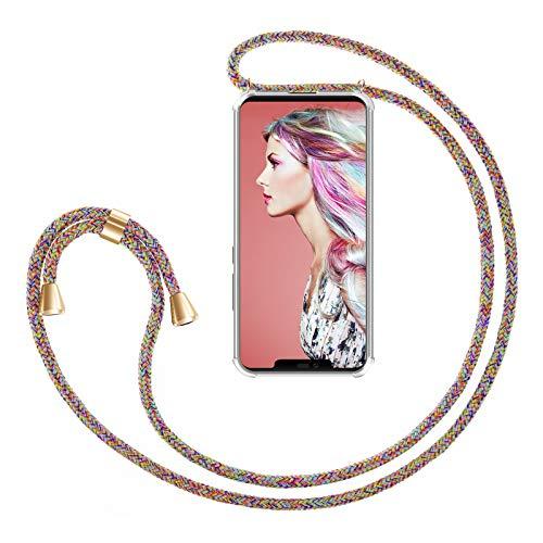ZhinkArts Handykette kompatibel mit Huawei Mate 20 Pro - Smartphone Necklace Hülle mit Band - Handyhülle Hülle mit Kette zum umhängen in Rainbow