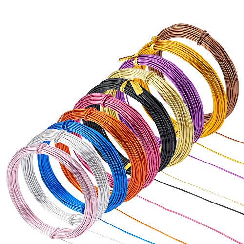 PandaHall 10 rollos de alambre de aluminio para manualidades, calibre 17/1,2 mm de metal flexible para joyería artística y hacer manualidades, 10 colores, 10 m/rollo