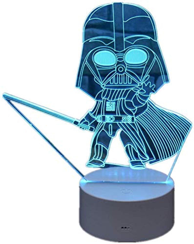 Umgebungslicht, Star Wars 3D Illusion Lights Darth Vader Visuelle Effekte Nachtlichter Acryl 16 Farben beleuchtet mit intelligenter Fernbedienung und Berührungsschalter USB-Kabel Geschenk Spielzeug Ho