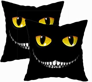 Fullentiart Fun Pillow Cases, Thanksgiving Day Gift Black Cat in Darkness Glowing Eyes Smile Sinister Cushion Soft Skin-Friendly Fade Wrinkle Resistant and Easy to Wash 18X18Inches 2Pcs