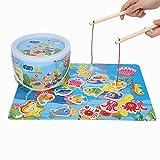 Jeu de pêche marine, jeu de puzzle magnétique en bois pour enfants avec 14 pièces de poisson magnétiques et 2 jouets flottants de pêche magnétique pour pôles magnétiques pour garçons et filles
