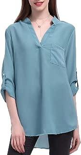 Womens Long Sleeves V-Neck Chiffon Blouses Work Casual Loose Tops Shirts
