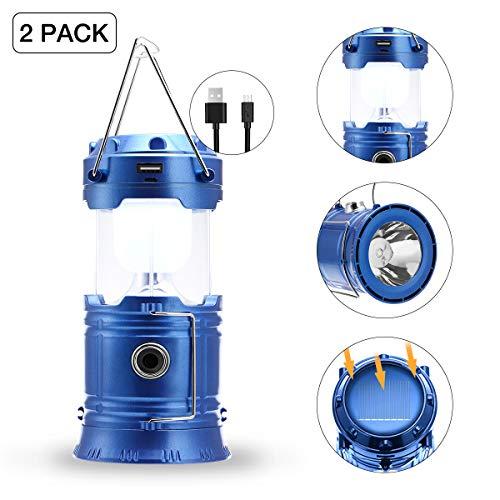 Farol de camping con luz LED portátil, carga solar/USB (2 unidades)
