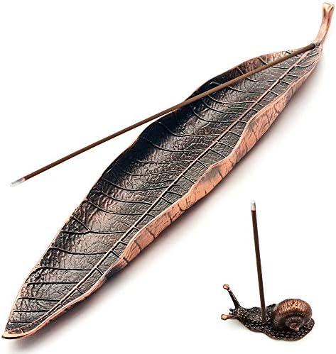 Incense Holder Set Leaf and Snail Incense Burner Incense Holders for Sticks Ash Catcher Durable product image