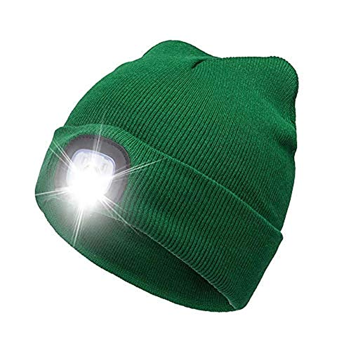 CHuangQi - Gorro de Lana con 4 Luces LED, Unisex, Recargable, Manos Libres, Gorra para Linterna Frontal, Verde