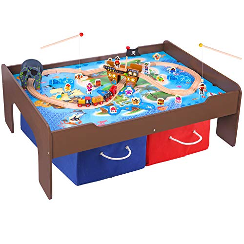Pidoko Kids Pirate Theme Train Table and Wooden Train Set Toys (72 Pcs) -...