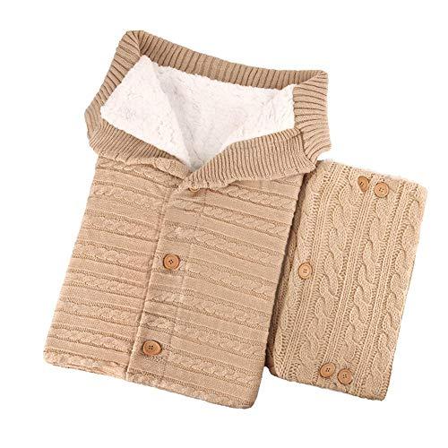 SNIIA Unisex baby slaapzak gebreide wikkelen kinderen peuters dikke gebreide zachte warme fleece deken slaapzak kinderwagen voor baby's 0-18 maanden (met een paar volwassenen handschoenen)