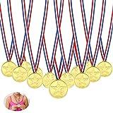 Febbya Medallas para Niños,Medallitas Juguetito de Plástico 30 Piezas Ganadores Medallas Oro Mini Olimpiadas con Cordón para Juegos Fiestas Infantiles Prizzes Regalos Premios 4CM