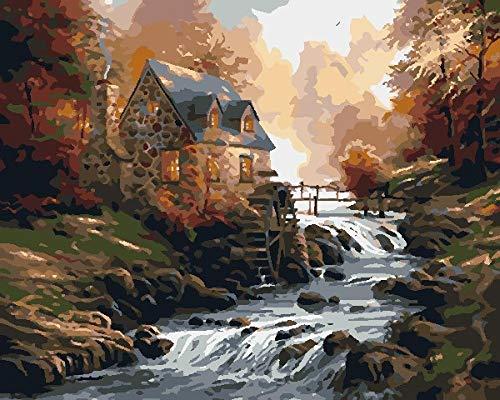 Diy Acrílico Pintura Al Óleo Río De La Casa Del Bosque Para Niños Y Adultos Principiante Números Kit De Pintura Acrílica 16 * 20 Pulgadas.40 * 353Cm