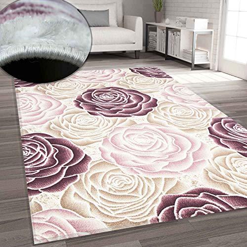 VIMODA Teppich Rosen Muster in Rosa Pink Creme, Maße:120 x 170 cm