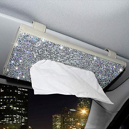 ChuLian Bling Bling Car Sun Visor Tissue Box HolderCrystal Sparkling Napkin HolderPU Leather Backseat Tissue Case Car Accessories for WomenBeige
