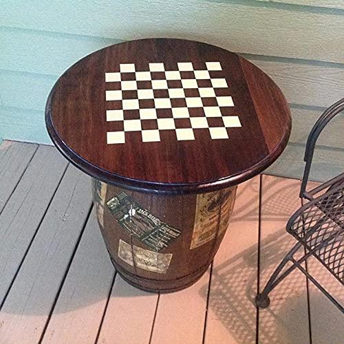 Haga su propio tablero de juego de ajedrez y damas mesa de vinilo calcomanías de etiqueta de idioma de pared sala de juegos para niños sala de juegos hombre cueva decoración del hogar-35x35cm