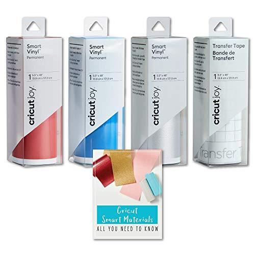 Cricut Joy Smart Permanent Vinyl Roll Bundle (Red, Silver, Blue)