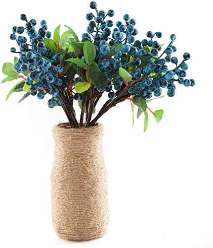 SHACOS Artificial Flowers Blueberry Picks 10 PCS Floral Berry Stems Fake Blueberry Green Leaves Berry Spray Twig 9.8 inch Floral Arrangement for Home Wedding Party (10 PCS, Blueberry)