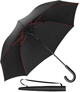 Newdora Stockschirm Regenschirm Windproof Manuelles Schließen Fiberglas Rippen Golf Umbrella Lightweight Extra Large 210T Wasserdichter Golfschirm Herren Damen mit rutschsicherem Griff Schwarz