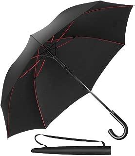 Newdora Umbrella Stick Umbrella Automatic Open Manual Close Windproof Extra Strong Golf Umbrella Ideal for 1-3 People During Storm (Black)